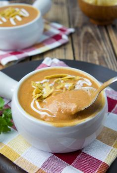 Cheesy Chicken Enchilada Soup. This is a copycat recipe from Chili's Restaurant- tastes just like the original!