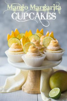 Mango Margarita Cupcakes: the flavors in this cupcake were off the charts! Just like sipping on my favorite cocktail, with lots of sweet mango, fresh lime, and a kick of tequila. Mango Cupcakes, Margarita Cupcakes, Summer Cupcakes, Mango Margarita, Mocha Cupcakes, Gourmet Cupcakes, Fun Cupcakes, Cupcake Recipes, Calamari