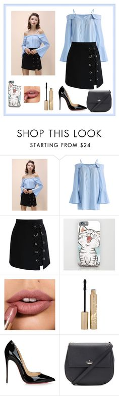 """Untitled #357"" by liacarolina02 ❤ liked on Polyvore featuring Chicwish, Stila, Christian Louboutin and Kate Spade"