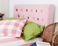 how to make diy bed headboard with upholstery fabric and buttons