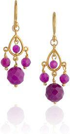 Chan Luu14-karat gold-vermeil jade earrings