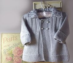 Ravelry: Baby girls jacket with lace collar pattern by OGE Knitwear Designs Baby Cardigan, Baby Pullover, Knitting For Kids, Baby Knitting Patterns, Baby Patterns, Crochet Baby, Knit Crochet, Baby Girl Jackets, Baby Coat