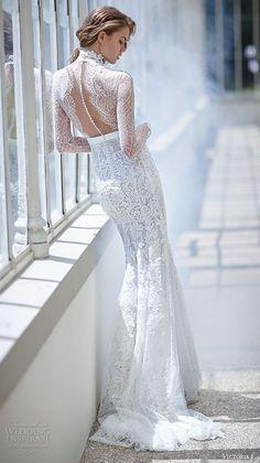 Top 50 Most Popular #Bridal Collections on Wedding Inspirasi in 2015:   http://www.weddinginspirasi.com/2015/12/29/top-50-most-popular-bridal-collections-on-wedding-inspirasi-in-2015/  #wedding #weddingdress  victoria f 2016 bridal high neck lace sheer long sleeves sheath wedding dress back view: