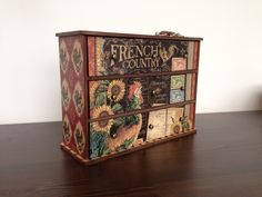 Graphic 45 French Country papers on a kaiser kraft chest of drawers by  emma weslowsky