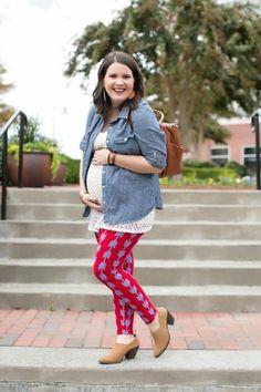 LulaRoe Printed Arrow Leggings, Chambray, Lily Jade bag, Fall Maternity Style (6)