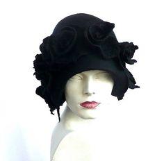 Black felt hat felted hat black hat felt hats Cloche