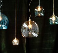 Suspension, Rowan, transparent, laiton, - Ebb and Flow Decor, Lighting Design, Bubble Chandelier, Sign Design, Light Bulb, Light, Chandelier