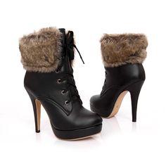 Pas cher 2016 nouvelle mode hiver talons bottes Lace Front   Up bout pointu chaussures de démarrage en peluche en cuir véritable talons minces femmes chaussures 3   2   18, Acheter  Bottes pour femmes de qualité directement des fournisseurs de Chine:                         Vous pouvez choisir plus de chaussures dans notre magasin: