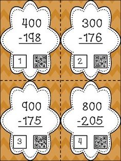 SUBTRACTION ACROSS ZEROES - This set of 28 task cards provides students with practice on subtracting with zeroes in the number.  Each card has a QR code to increase engagement.  Also included are a Subtraction Sort activity and a student activity sheet (can be used for homework or assessing the skill) ($4.00)