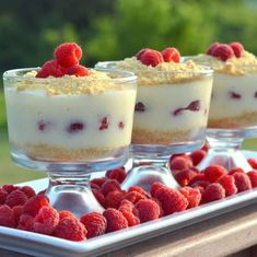 Préparation : Faire bouillir le lait avec les graines ainsi que la gousse de vanille, ensuite Battre les jaune d'oeufs avec le sucre. Ajouter la farine  Verser progressivement en filtrant le lait vanillé en mélangeant bien.Remettre à chauffer à feu doux pour atteindre la consistance souhaitée.Laisser un peu refroidir ... Raspberry No Bake Cheesecake, Cheesecake Pudding, Pudding Desserts, Cheesecake Recipes, Parfait Desserts, Köstliche Desserts, Dessert Recipes, Fruit Recipes, Salad Recipes