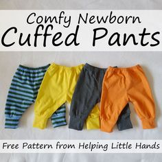 Sewing Ideas For Baby Pieces by Polly: Comfy Newborn Cuffed Pants - Free Printable Pattern Sewing Baby Clothes, Baby Clothes Patterns, Baby Patterns, Clothing Patterns, Diy Clothes, Shirt Patterns, Dress Patterns, Baby Outfits Newborn, Baby Boy Outfits