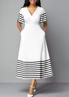 Cheap white Dresses online for sale Xhosa Attire, African Attire, African Fashion Dresses, African Dress, Fashion Outfits, Dress Fashion, Fashion Trends, Wedding Dress With Pockets, Dress Pockets