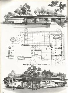 B 1209 Vintage House Plans, 2000 + square foot homes, mid century homes Vintage House Plans, Country House Plans, Modern House Plans, House Floor Plans, Vintage Houses, Country Houses, Mcm House, Home Planner, Villa