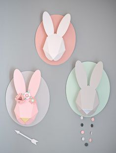 cool easter rabbit head trophy art origami paper craft really modern cute easter decoration or for your kids room Origami For Kids Animals, Animals For Kids, Diy Origami, Bunny Origami, Origami Dress, Easter Scavenger Hunt, 3d Templates, Paper Bunny, Papier Diy