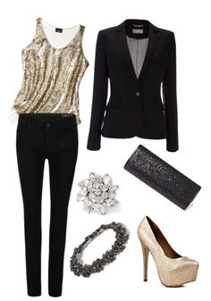 Holiday Outfit #1, gold sparkly tank top, black blazer, sparkly gold pumps