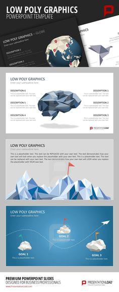 Bringen Sie frischen Wind in PowerPoint-Präsentationen und verwenden Sie polygonale Elemente. Bearbeiten Sie Farbe und Größe der Low Poly Grafiken und zeigen Sie Designexpertise @ http://www.presentationload.de/low-poly-grafiken.html