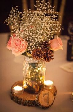 Lily of the Valley • Pinecone • Candle Bark Centerpiece • Rustic