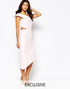 ASOS   ASOS Midi Dress in Crepe with Double Layer at ASOS