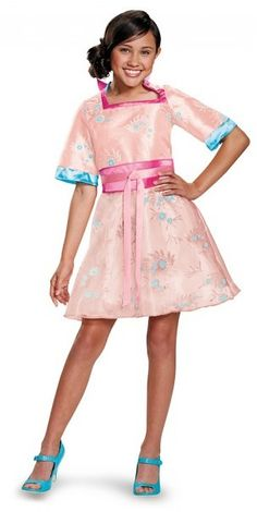Lonnie Coronation Descendants Costume - Daughter of Mulan and Shang, Lonnie seems to be more accepting of the four villain's children. This is the officially licensed Coronation costume for Lonnie from the Disney movie Descendants. This beautiful gown has a great flower overlay with matching pink belt and detachable flower. Pair with the other Descendants for a fun group costume. #yyc #Calgary #costume #Descendants #Lonnie