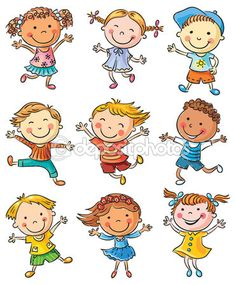Nine Happy Kids Dancing or Jumping — Stock Illustration #61869507