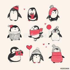 """Laden Sie den lizenzfreien Vektor """"Cute hand drawn penguins set - Merry Christmas"""" von Marina Zlochin zum günstigen Preis auf Fotolia.com herunter. Stöbern Sie in unserer Bilddatenbank und finden Sie schnell das perfekte Stockbild für Ihr Marketing-Proje (Cool Art Doodles)"""