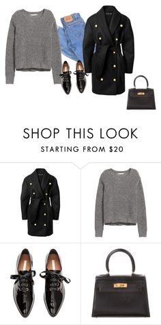 """Untitled #813"" by yurithisandthat ❤ liked on Polyvore featuring Levi's, Balmain, H&M and Hermès"