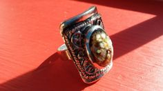 Check out this item in my Etsy shop https://www.etsy.com/listing/222387597/shell-ring-tibet-ring-square-ring-silver
