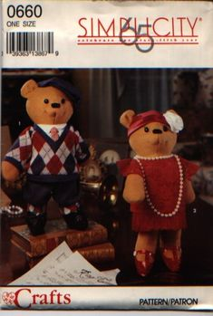 """Simplicity+0660+Decorative+Bear+&+Clothes+Pattern+-+Approx+15""""+Tall"""