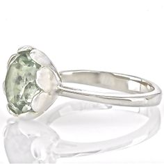 Tulip Ring with Green Amethyst - hardtofind.