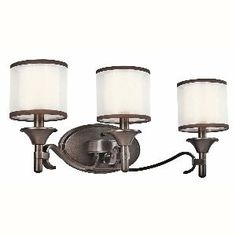 Kichler Lighting 45283MIZ 3 Light Lacey Bathroom Light, Mission Bronze by Kichler. $250.20. From the Manufacturer                Finish: Mission Bronze, Shade: White Translucent Organza, Glass: Satin Etched Cased Opal, Light Bulb:(3)60w B10 Cand F Incand Lacey Three-Light Vanity Sconce. Offers a beautiful contrast, melding the charm of Olde World style with clean modern-day materials. It starts with a rich finish and bold, unadorned rounded-arm styling. It finishes with avant-...