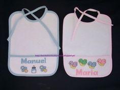 Enxoval para bebés Executo bordados personalizados, essencialmente para bebés, em ponto cruz e croché. Tenho: * babetes desde €4, 00 * fraldas desde €7, 50 * mantas, tipo polar, desde€20,