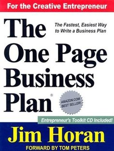 The One Page Business Plan for the Creative Entrepreneur by Jim Horan, http://www.amazon.com/dp/1891315099/ref=cm_sw_r_pi_dp_yCJQrb1FN9DAK