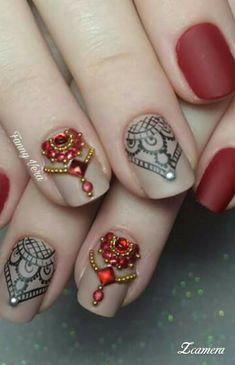 Uñitas Best Nail Art Designs, Beautiful Nail Designs, Beautiful Nail Art, Gorgeous Nails, Pretty Nails, Lace Nails, Red Nails, Hair And Nails, Acrylic Nail Art