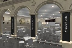 The Royal Collection initiated in Krakow redesigned by Morris Associates, an international award winning exhibition design service. Museum Cafe, The Royal Collection, Service Design, Coffee Shop, Mirror, Projects, Google Search, Home Decor, Museum
