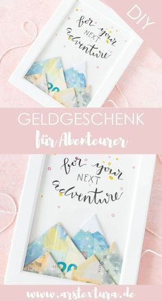 money gift: fold banknotes as mountains - a great DIY gift for . - DIY Basteln & S. Tinker money gift: fold banknotes as mountains - a great DIY gift for . Diy Gifts For Girlfriend, Diy Gifts For Dad, Diy Gifts For Friends, Boyfriend Gifts, Pot Mason Diy, Diy Cadeau, Birthday Diy, Birthday Money, Birthday Gifts