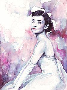 Beautiful Painting - Audrey Hepburn Purple Watercolor Portrait by Olga Shvartsur