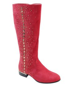 Look what I found on #zulily! Red Pyramid-Studded Boot #zulilyfinds