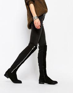 ALDO - Dyna - Stivali al ginocchio in pelle nera con zip a vista