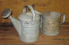 Two Vtg Watering Cans ~ ~ Galvanized Metal ~ Complete With Spout Ends