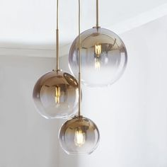Sculptural Glass Round Globe Chandelier, S-M-L Globe, Gold Ombre Shade, Brass Canopy 3 Light Chandelier, Globe Chandelier, Modern Chandelier, Bedroom Chandeliers, Art Deco Chandelier, Pendant Lamps, Home Lighting, Modern Lighting, Lighting Design