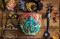 The Creole House Teacups – MudDog Pottery, LLC ~ Jena M. Sorapuru-Karras