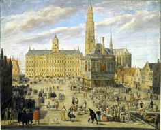On this painting you can see which parts of the Dam square changed and which part is still the same. Eyecatcher is the Royal Palace; the Town Hall in those days. 1653 - gouache van Jacob van den Ulft. De Dam te Amsterdam. Gevonden op http://boomingamsterdam2013.nl