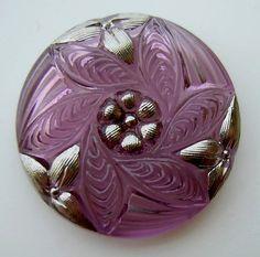 Czech Glass Button  Transparent Purple Glass by ButtonOdyssey, $4.99