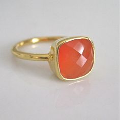 coral colored gem ring