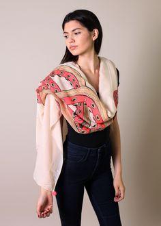 Women's Fabulous Octopus Print Boho Fashion Scarf / Shawl / Wrap with Pom Pom Trim.