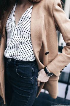 Fashion blogger outfit ideas pinstripe shirt wool camel blazer