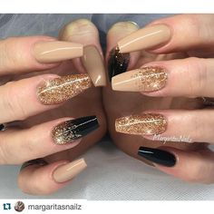 "cool @nailartgang on Instagram: ""Nude and black and gold ❣ #nailartgang#Repost… Nail Design, Nail Art, Nail Salon, Irvine, Newport Beach"