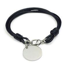 circle charm men leather bracelet  www.mensicon.com