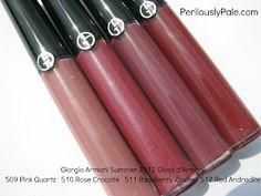 Giorgio Armani Summer 2012 Gloss d'Armani 509 Pink Quartz, 510 Rose Crocoite, 511 Raspberry Zincite, 512 Red Andradite ~ Swatches, Pics, Review |Perilously Pale