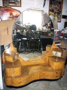 VINTAGE ART DECO DRESSING TABLE SHABBY FRENCH BEVILLED HUGE MIRROR INDUSTRIAL | eBay